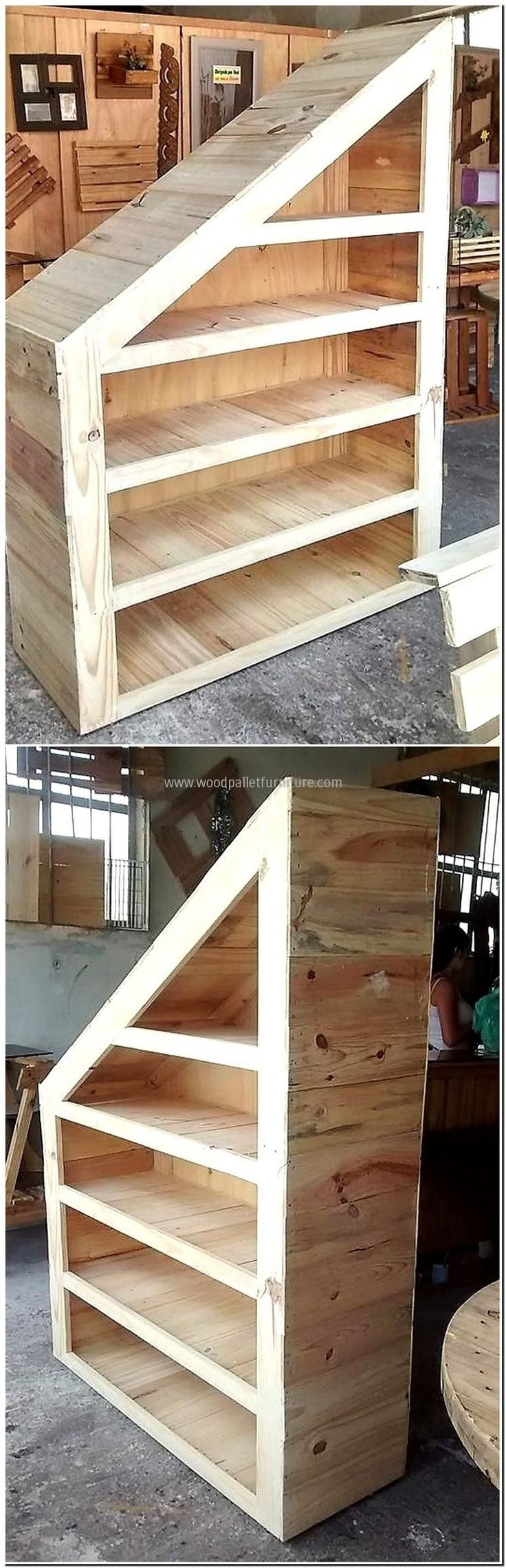 Some people are wise enough to use every space at home like the one who created this upcycled wood pallet wardrobe for under the stairs. For the home with less space, it is a good idea for the storage of the items in an organized way. This idea can be used for placing the shoes or other things.