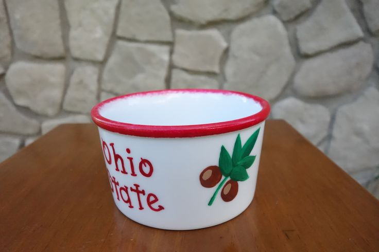 A personal favorite from my Etsy shop https://www.etsy.com/listing/199716030/ohio-state-buckeye-ramkin-serving-bowl