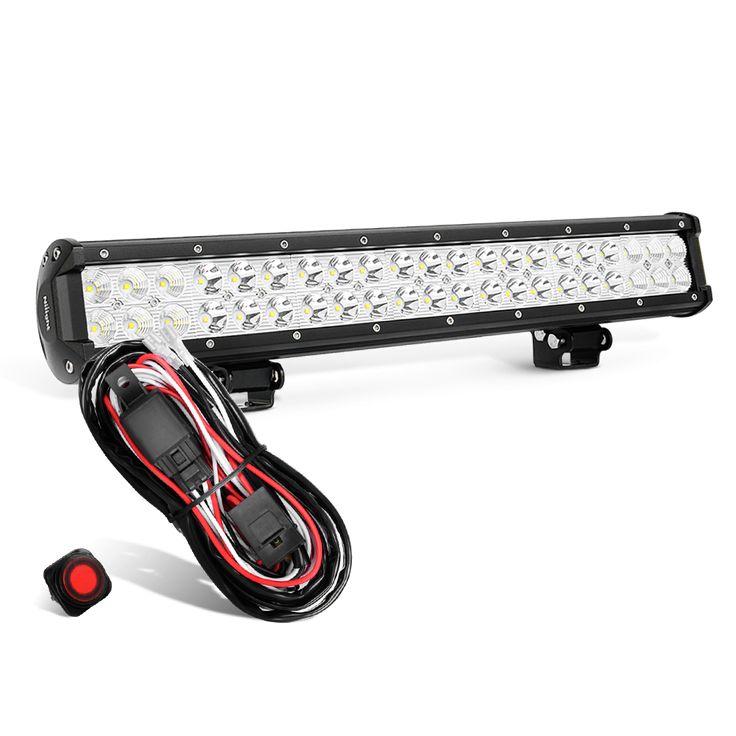 Nilight 20 Inch 126W Spot Flood Combo Offroad LED Light Bar & Wiring Harness Kit, 2 Years Warranty