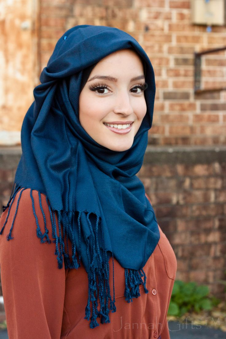 Silky Navy Pashmina Hijab $13 Check it out now BUY 3 GET 1 FREE www.jannahgifts.com Elegant modest fashion [I like the hijab style]