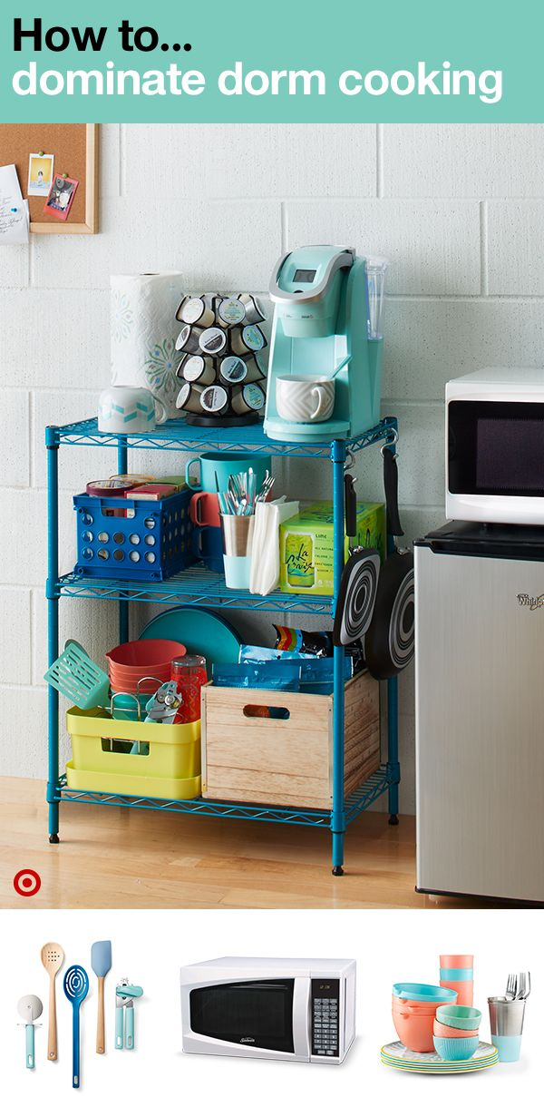 Become a pro at dorm cooking. Use space-savers like storage bins and storage shelves to keep everything you need organized. Remember a coffeemaker for the mornings and late nights, a microwave to cook anything and everything, and don't forget plates, cups and cooking utensils — pizza cutter included. Perfect! Now you can avoid cafeteria food and instead prepare meals right in your stocked dorm room kitchen.