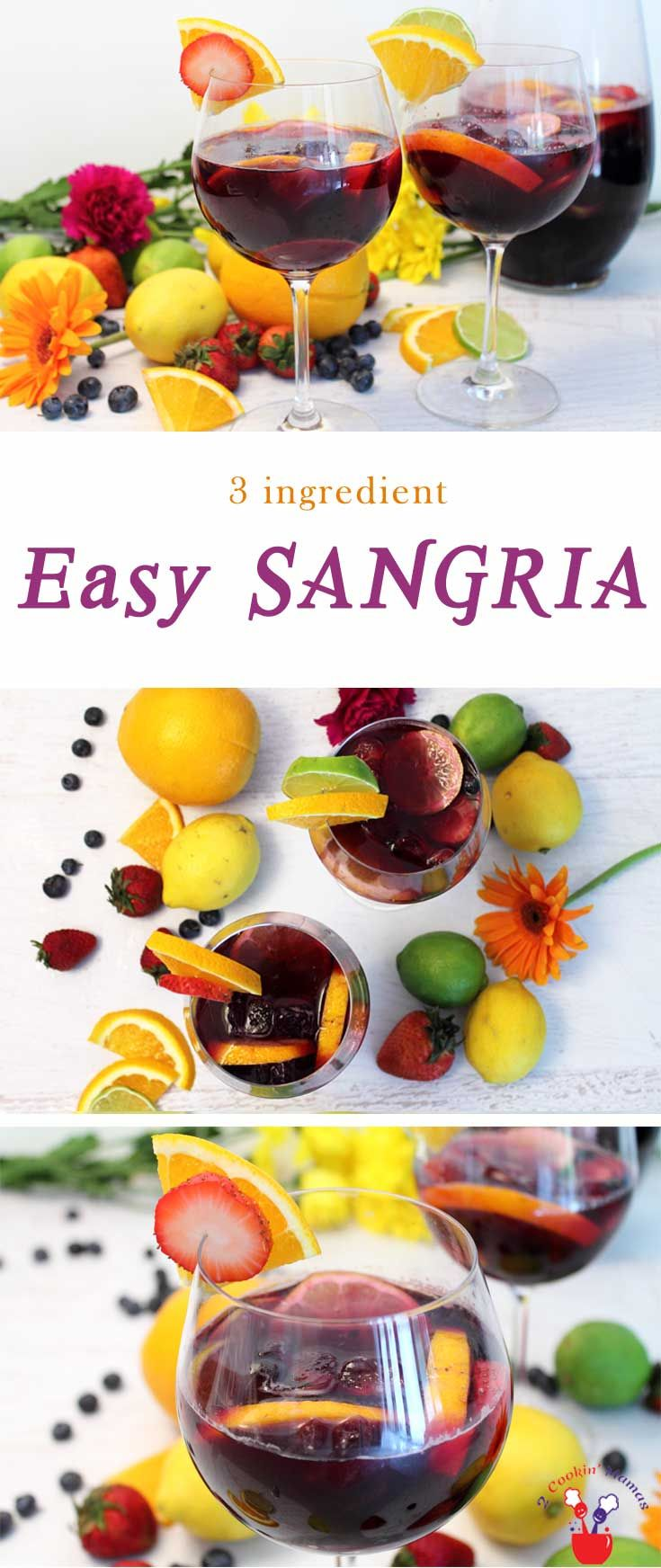 Our easy sangria has just 3 ingredients. An inexpensive wine, Sprite & sliced fruit are all that's needed to make this favorite summer cocktail. via @2CookinMamas