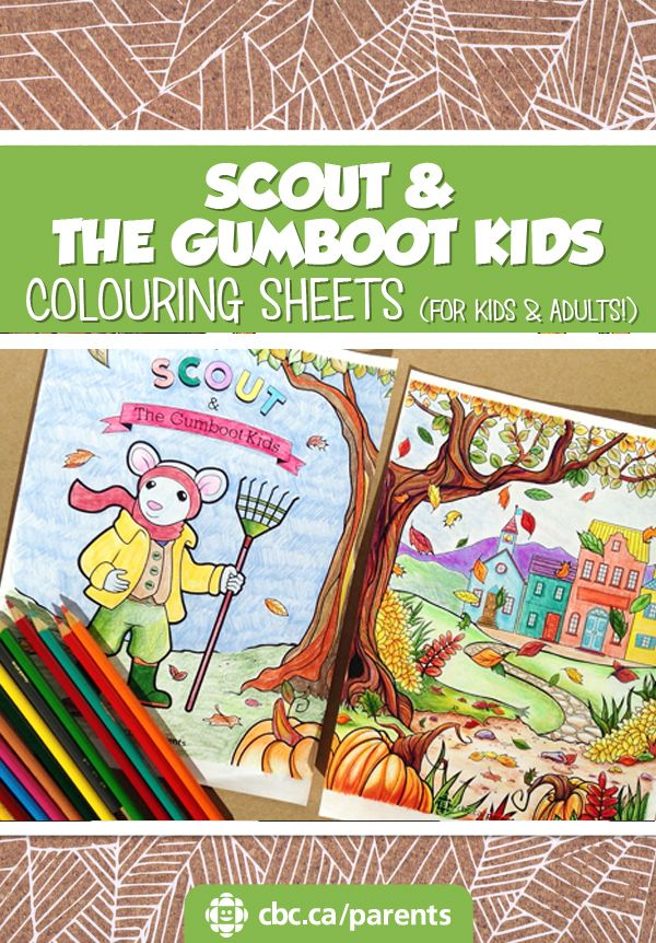 Parents and kids can colour together with printable colouring sheets: one page for kids and one for grown-ups!