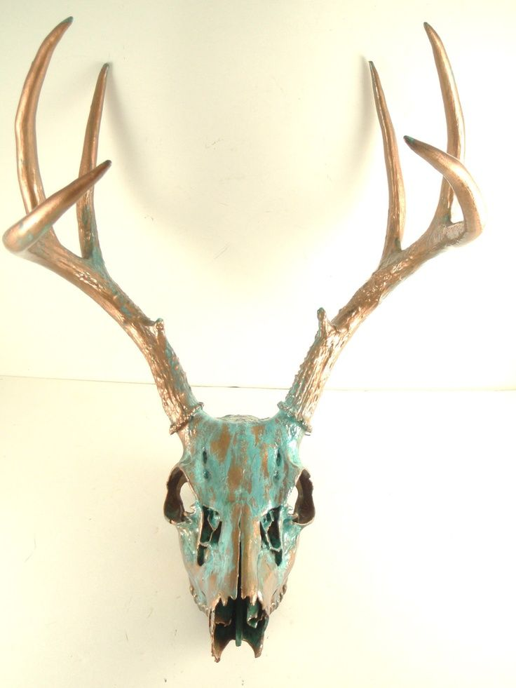 deer antler art large copper natural aqua patina deer skull antlers art for the