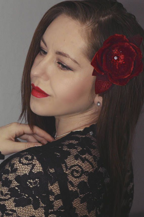 Red Velvet Hair Flower  Hair Accessories  Hair Rose