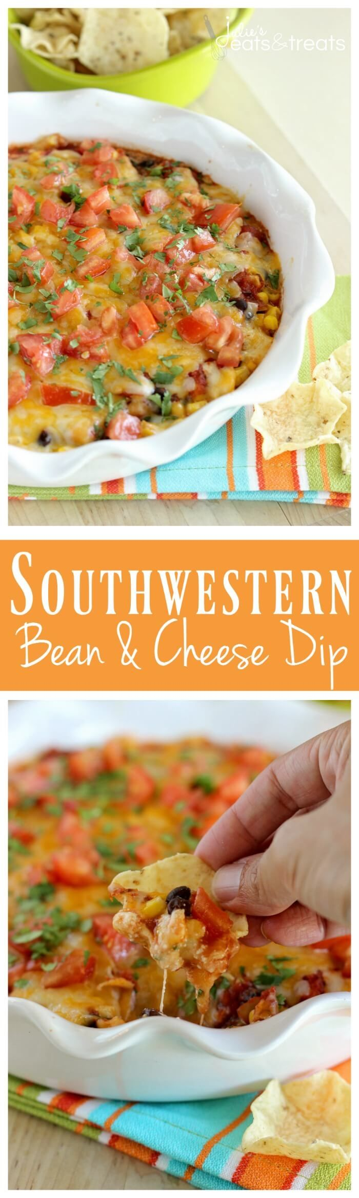 Southwestern Bean & Cheese Dip – A quick oven-baked dip made with layers of cream cheese, salsa, black beans, corn, melted cheese, tomatoes, and cilantro!