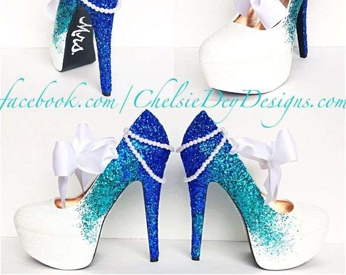 51d8297552b44 Glitter High Heels Blue and White Pumps Aqua Turquoise | Etsy ...
