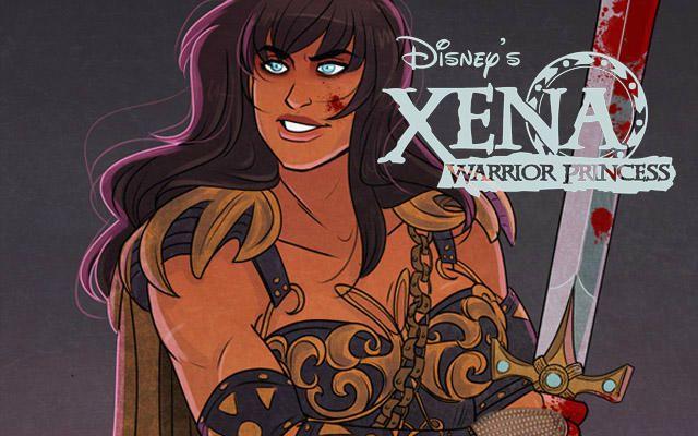 Xena, a Princesa Guerreira, ilustrada no estilo Disney