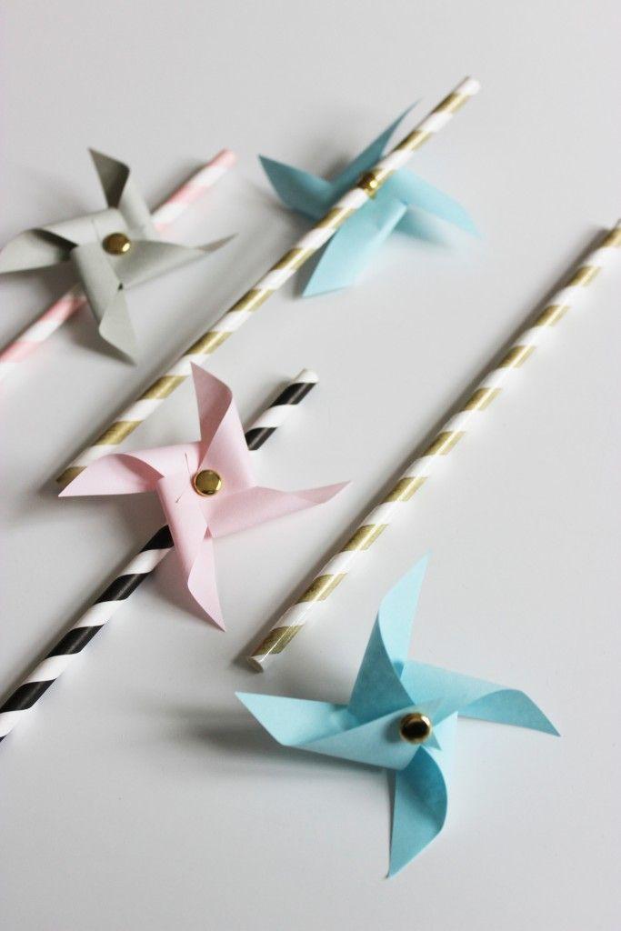 DIY: Papier-Windrad mit Strohhalm - mit Vorlage - in Dänisch.
