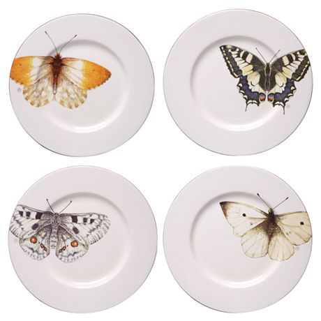 "BUTTERFLY PLATES - each 9"" - Designed by artist Marjolein Bastin"