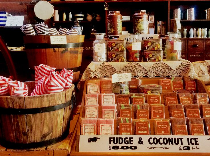 Chocolates, liquorice pokes, coconut ice, jellybeans and fudge... just a few of our favourite things you can find in our Grocer's store!