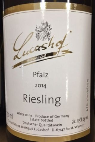 Lucashof Riesling, Pfalz, Germany.  Mineral, salt, lime, & a touch of the tropics. German margarita?