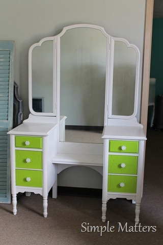 White and Lime Green Vanity