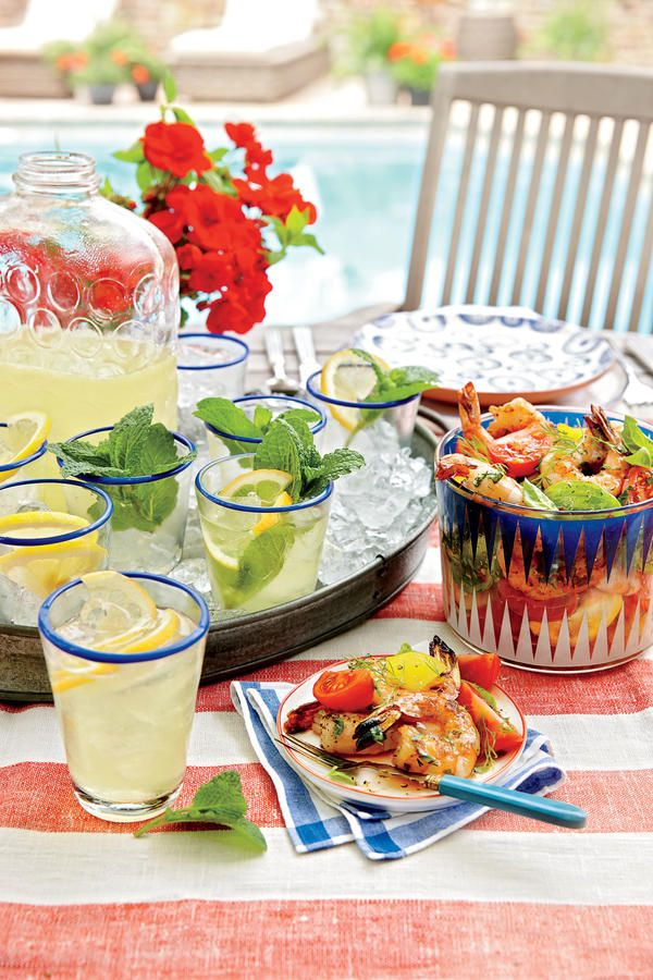 Grill Up a Backyard Feast - Our Best Summer Menus - Southernliving. Brooke Parkhurst and James Briscione know how to wow a crowd. It stars at the grill with a casual family-style menu.    Get the Recipes:Lemon-Mint SparklersTomato Salad With Grilled ShrimpMargarita-Brined ChickenGrill-Smoked Summer PeasSmoky Chopped Salad with AvocadoBourbon-Soaked PlumsKey Lime Curd ConesRed, White, and Blue Ice-Cream Cake