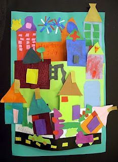 collage your neighborhood.// overlapping and depth. Stuart Davis....class project? Each table of students has theme: buildings, vehicles,signs, things in the air, etc., to contribute to collage.