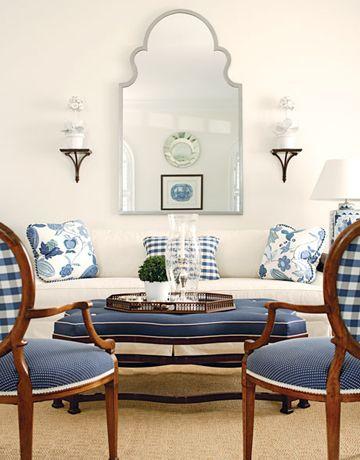 contrast welt/fabrics T. Keller Donovan - I am a sucker for blue/white!  Love that mirror!