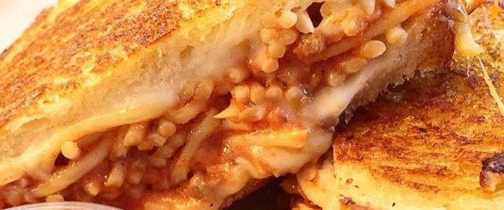 PHOTO: Paul Cao of Burnt Crumbs in Huntington Beach, California created the internets new hybrid food craze, spaghetti grilled cheese.