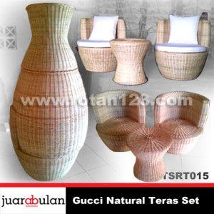 Gucci Natural Teras Set Kursi Rotan Sintetis TSRT015