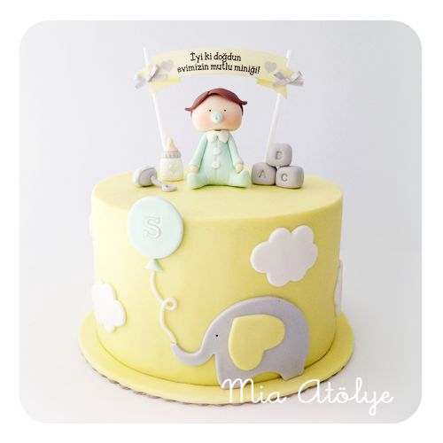 Baby boy first birthday cake with elephant