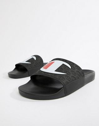 e82df33cccbec Champion sliders with large logo in black