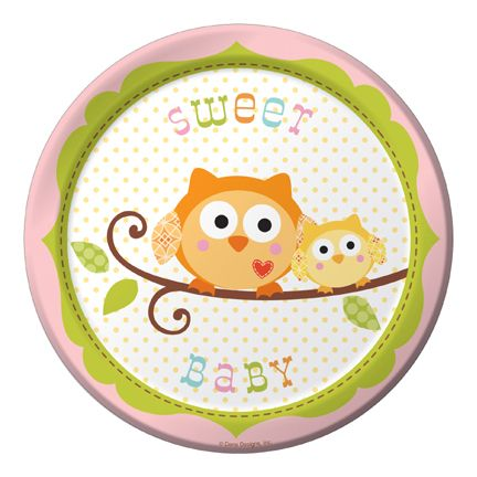 "Happi Tree Dessert Plate Baby Girl (includes 8 pcs of 7"" round paper plates in a pack)"