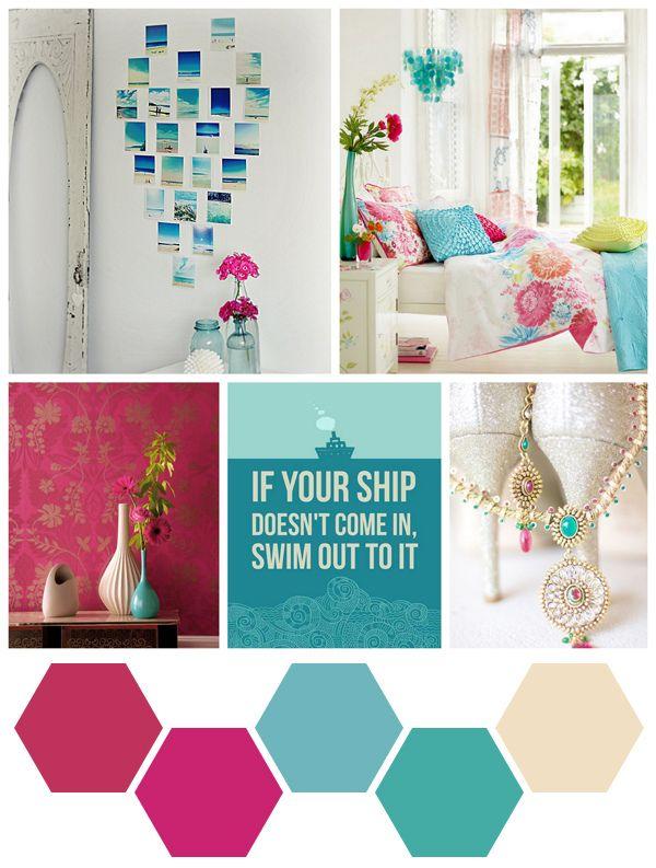 Aqua + Bold Pink Nice Look