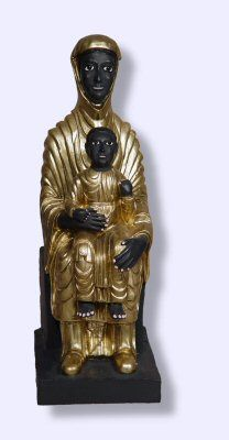 """She blesses the infertile with children and heals unhappy marriages. In the Middle Ages, she was highly celebrated with her own pilgrimage and festival in her town in central France.    This black Madonna was rediscovered during cathedral renovations in 1974. Sealed up in the walls, she stood hidden away and protected from some long forgotten danger. She is in symbol and in fact an example of reclaiming the Sacred Feminine.    8 1/4"""" resin statue, handpainted.  $40"""