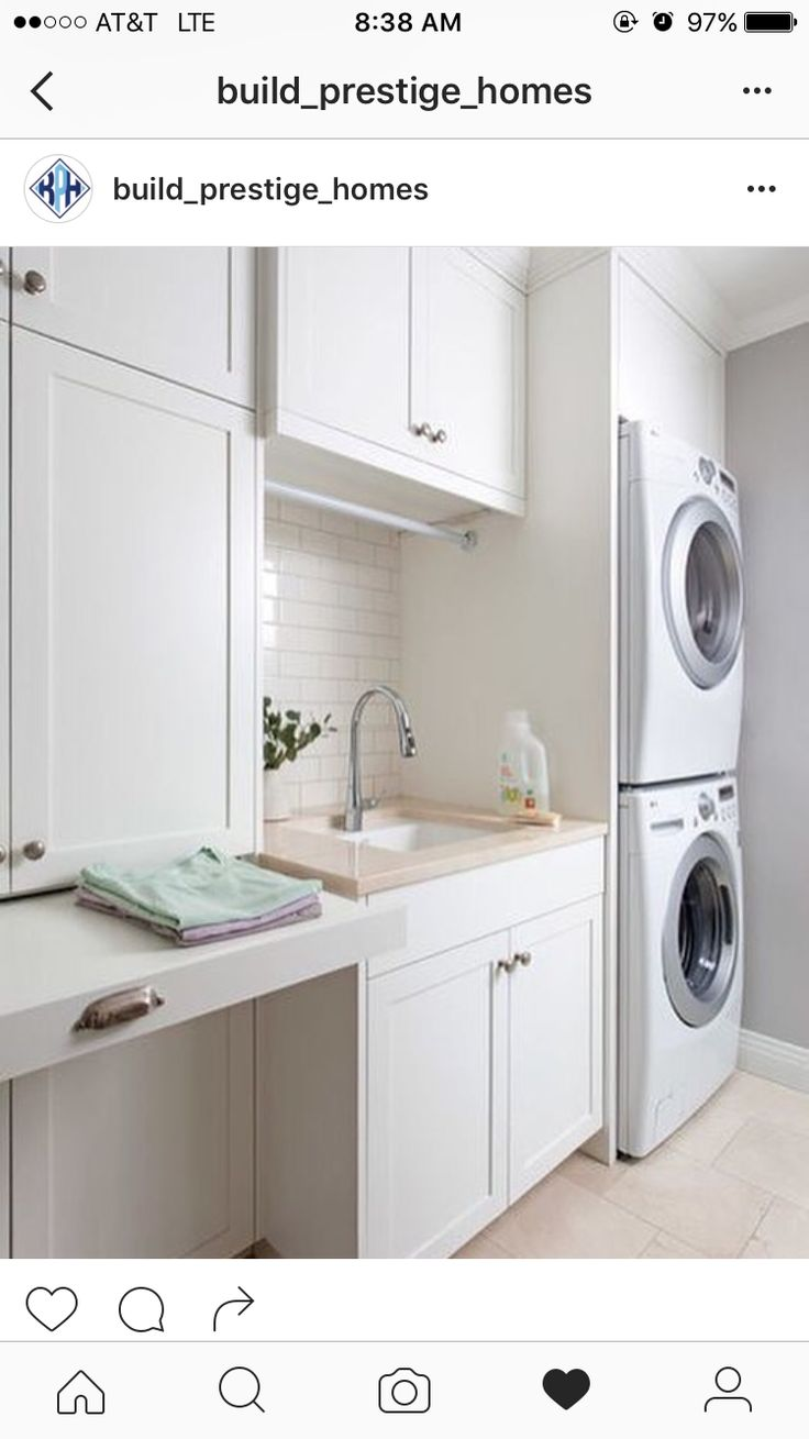 Laundry room | pull out folding surface | drop dry rod