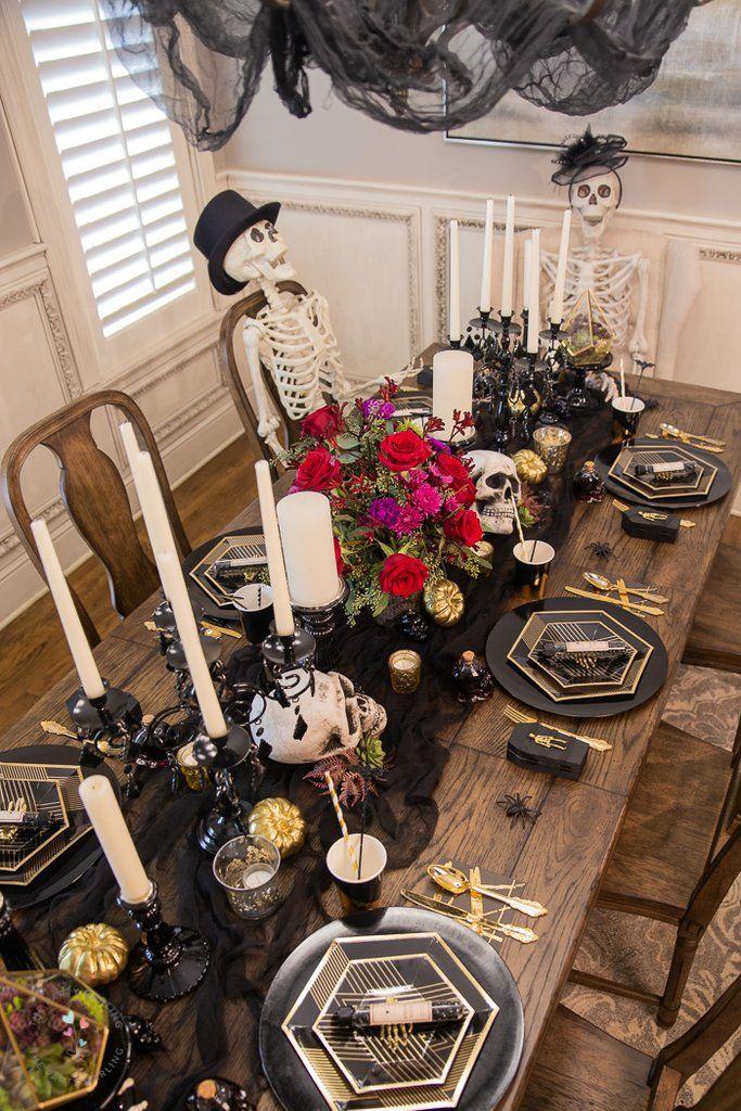 Romantic Gothic Halloween Dinner Table Setting Halloween Party Dinner Halloween Tablescape Halloween Dinner