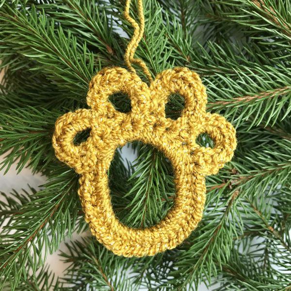 Paw Print Christmas Tree Ornament Crochet Pattern Christmas Crochet Patterns Crochet Patterns Christmas Ornament Pattern