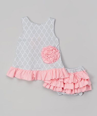 Another great find on #zulily! Gray Quatrefoil Swing Top & Diaper Cover - Infant by Ruffles by Tutu AND Lulu #zulilyfinds