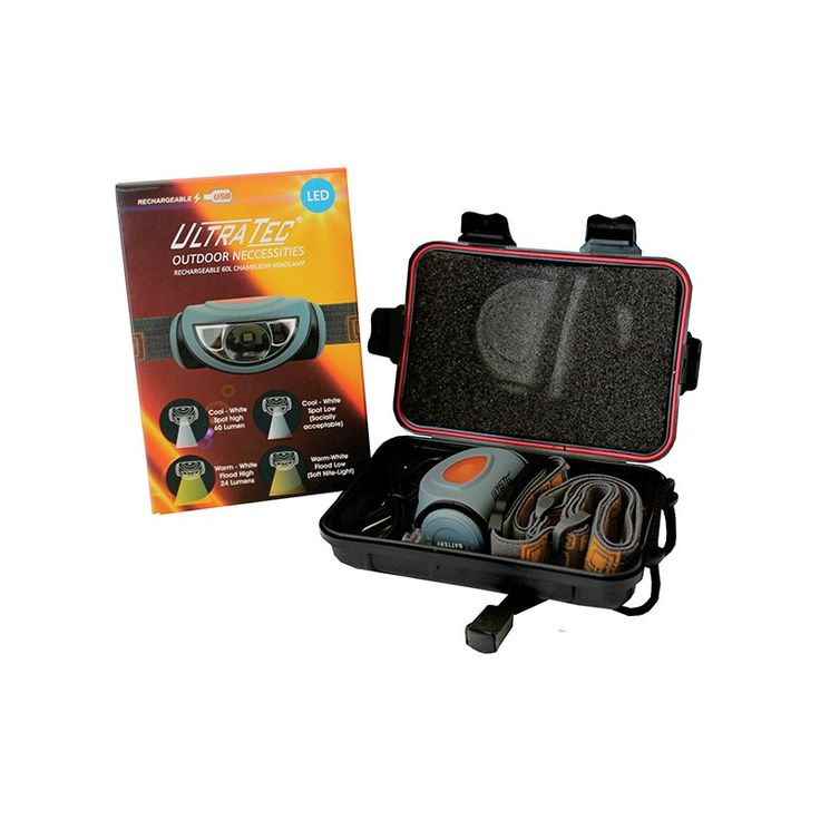 The UltraTec Outdoor Necessities Rechargeable 60L Chameleon Headlamp offers users a press for cool-white high mode,second press for Warm-white high mode. Warm-White for true colour rendition and great for BBQ and seeing true meat and food colours.