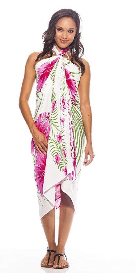 13e85297be 1 World Sarongs Womens Hawaiian Swimsuit Cover-Up Sarong in  Yellow/Green/White at Amazon Women's Clothing store: Fashion Swimwear Cover  Ups