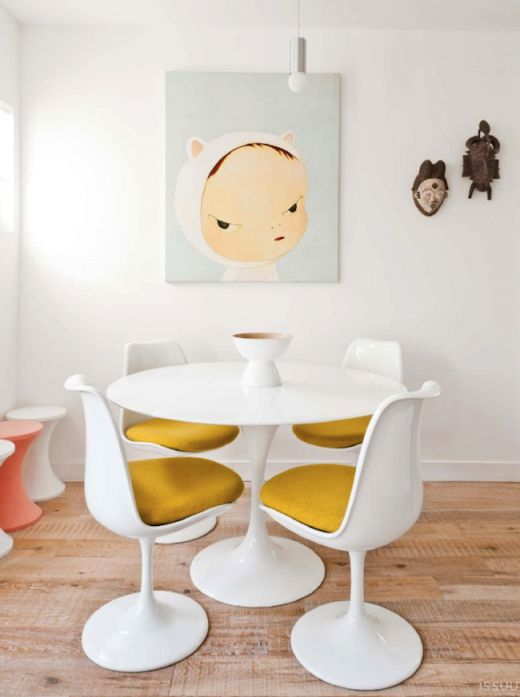 How great is this unexpected pairing of masks and art! kid friendly eating area via simply grove