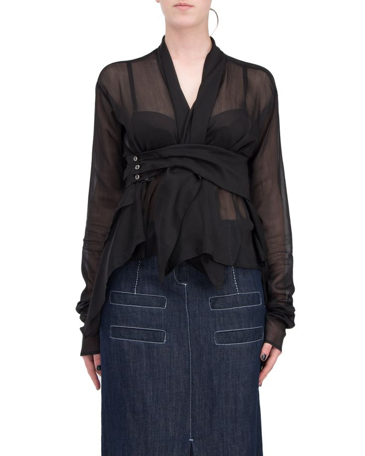 Georgette silk / cotton flid shirt with long sleeves. Cross on the front and closed by waist belt the same fabric