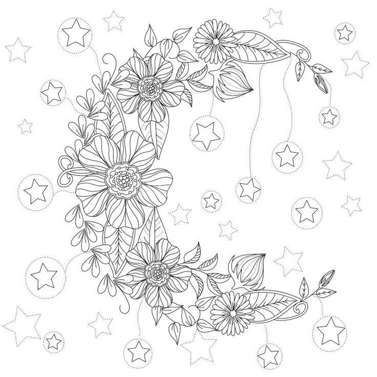 floral moon coloring page design ms - Coloring Pages With Designs