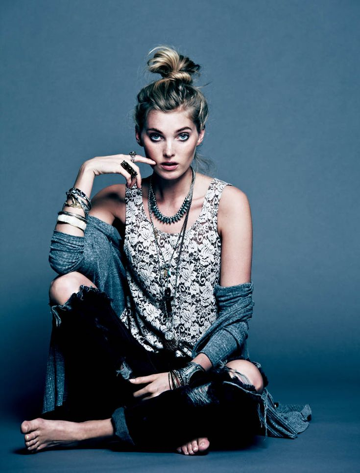 """Dark Rose – Free People's bohemian girl gets a dark makeover for their March lookbook in a new series of images titled, """"Dark Rose"""". Model Elsa Hosk poses in the studio in an eclectic mix of lacy dresses, tunics, heavy cross necklaces and dark floral prints. / Photography by Anthony Nocella"""