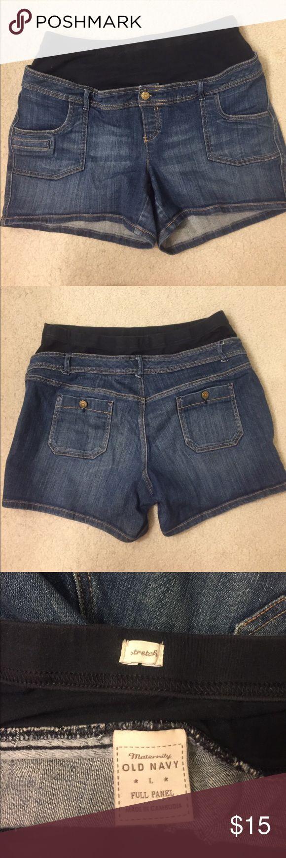 Old Navy maternity shorts Dark denim Old Navy maternity shorts. Size L. EUC. Very comfortable and soft. Old Navy Shorts Jean Shorts