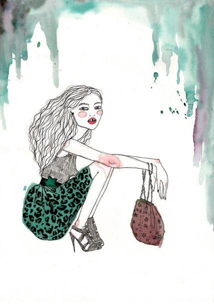 Una ilustracion juvenil por: Loreto Binvignat, en donde el principal protagonista es el verde 🍀 #talentochileno #fashionblog #difundimosmoda