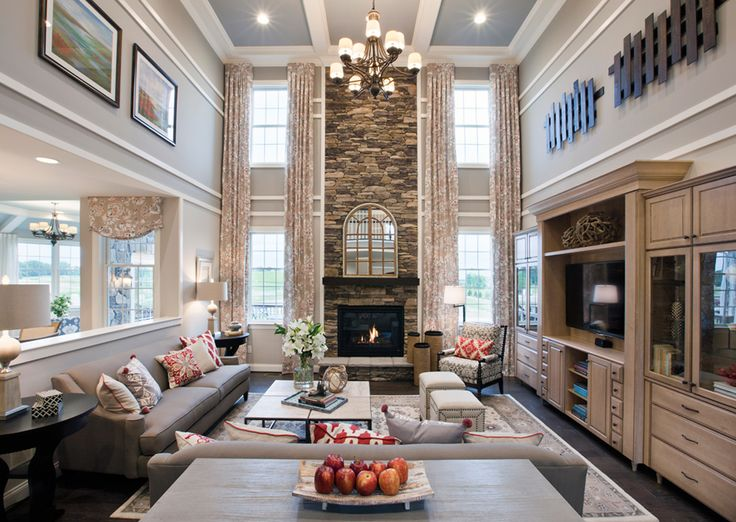 A splash of color in the family room. (Toll Brothers at Liseter - The Bryn Mawr Collection, PA)
