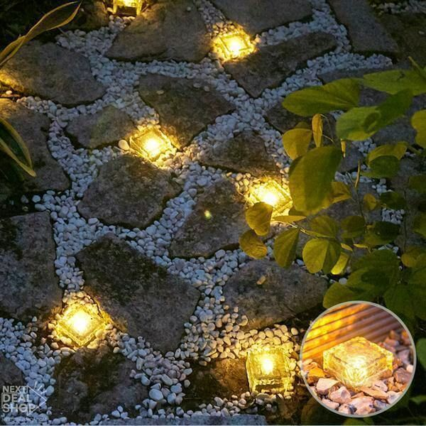 Solar-Powered Glass Brick Path Light - Heavy Duty Outdoor Lights!