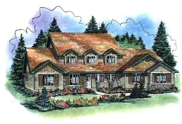 Elevation of Country   House Plan 58532
