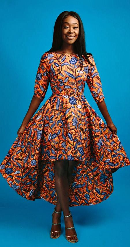 ZURI hi-low dress. - African print HI-LOW dress.   -3/4 length sleeve.  -back zip.  -100% cotton.   -made with high-quality African print wax fabric.   -fully lined.  African fashion | African women dresses | African prints | Nigerian style | Ghanaian fashion | Senegal fashion | Kenya fashion | Nigerian fashion (affiliate)