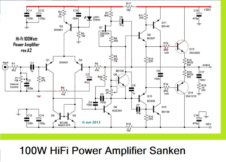 124 best amp images on pinterest circuit diagram computer science 100w hifi power amplifier circuit with sanken circuit diagram ccuart Images