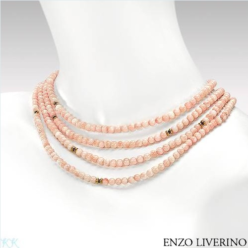$3,299.00  ENZO LIVERINO Made in Italy Irresistible Brand New Necklace With 1.50ctw Precious Stones - Genuine Corals and Sapphires  18K Yellow Gold. Total item weight 63.8g  Length 70in - Certificate Available.