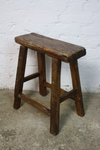 Vintage rustic antique wooden stool milking large