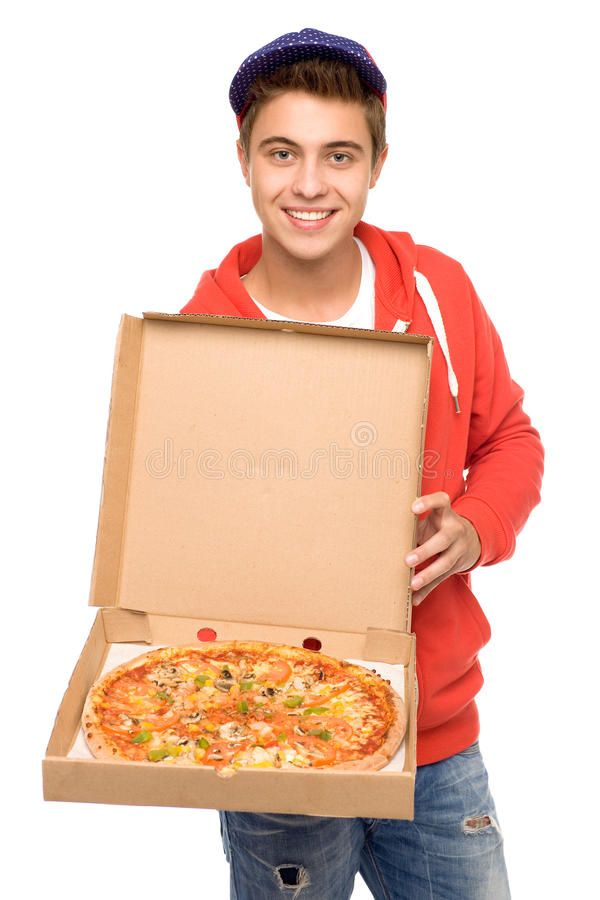 Pizza Delivery Man Young Man Holding Pizza And Smiling Ad Man Delivery Pizza Young Smiling Ad Pizza Delivery Guy Pizza Delivery Delivery Man