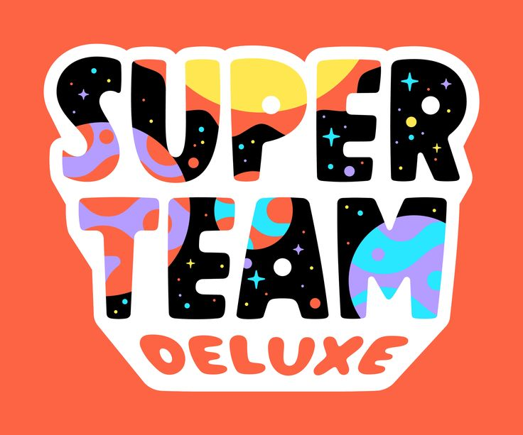 Illustrated versions of the Super Team Deluxe logo by Rogie King and Justin Mezzell.