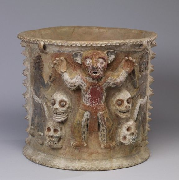 Maya - 600-900 (Late Classic) - Figural Urn with Jaguars and Skulls - ceramic buffware with polychrome