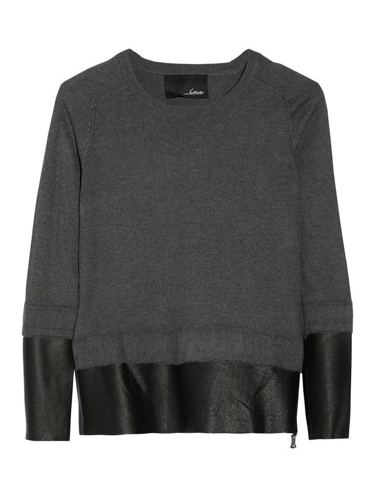Line - Vanguard Leather Paneled Knit Sweater